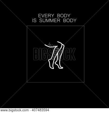 Beautiful Woman Body Line Art With An Unshaven Legs. Minimalist Female Curvy Figure. Abstract Female