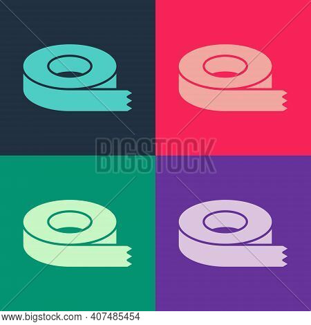 Pop Art Scotch Tape Icon Isolated On Color Background. Insulating Tape. Vector