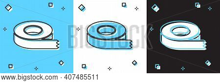 Set Scotch Tape Icon Isolated On Blue And White, Black Background. Insulating Tape. Vector