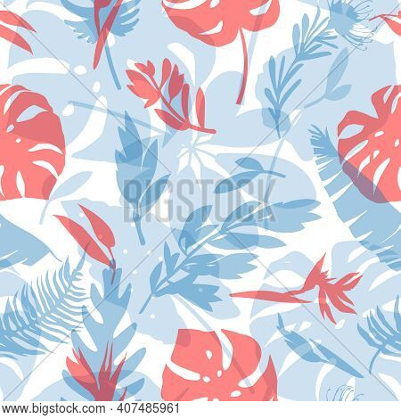 Seamless Pattern With Delicate Tropical Flowers And Leaves. Trendy Seamless Textures For Fabrics, Wa