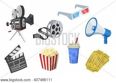 Movie Elements Set. Film Strip, Popcorn, Camera, Clapperboard, Megaphone, 3d Glasses, Tickets Isolat