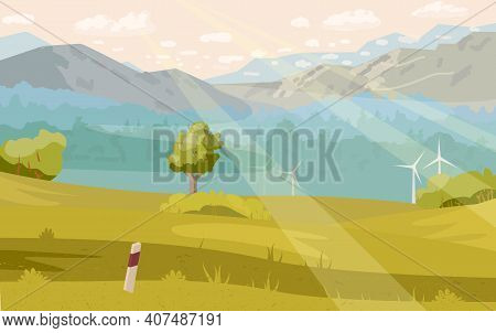 Beautiful Summer Landscape With Foggy Mountains, Forest, Cloudy Sky, Wind Mills, Sun Rays. Horizonta
