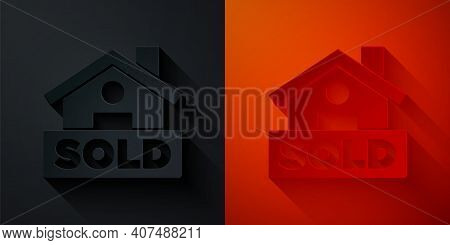Paper Cut Hanging Sign With Text Sold Icon Isolated On Black And Red Background. Sold Sticker. Sold