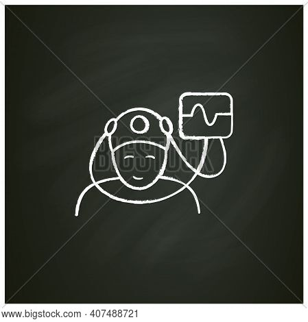 Electroencephalogram Chalk Icon. Brain, Sleep Examination. Sleep Disorder. Healthy Sleeping Concept.
