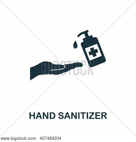Hand Sanitizer Icon. Simple Element From New Normality Collection. Filled Monochrome Hand Sanitizer
