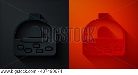 Paper Cut Brick Stove Icon Isolated On Black And Red Background. Brick Fireplace, Masonry Stove, Sto