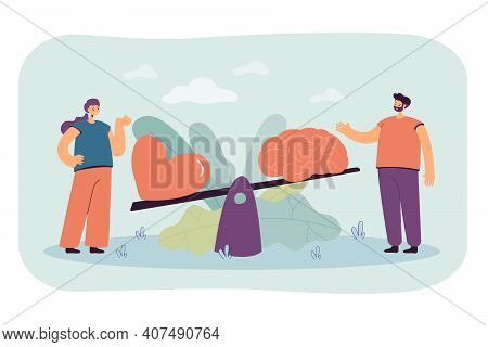 Two People Comparing Logic And Love With Seesaw Isolated Flat Vector Illustration. Cartoon Creative