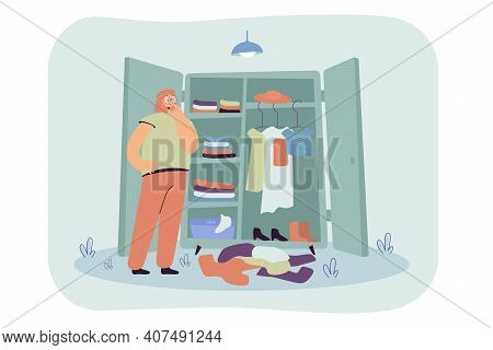Thoughtful Woman Choosing Clothes In Wardrobe Flat Vector Illustration. Cartoon Lady Standing In Fro