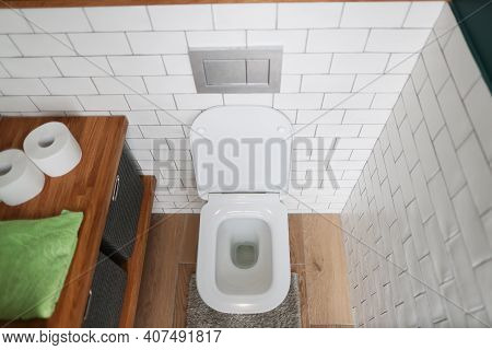 Bathroom With Toilet And Washbasin. Basic Requirements For Public Restrooms Concept