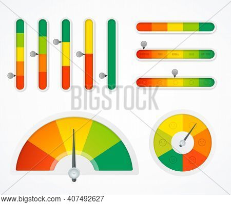 Realistic Detailed 3d Different Types Color Level Indicator Set With Arrow Symbol. Vector Illustrati