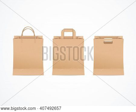 Realistic Detailed 3d Brown Paper Bag With Handle Empty Template Mockup Set For Retail. Vector Illus