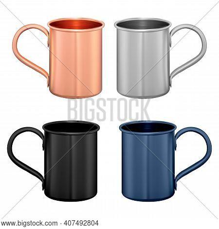 Metal Mug. Copper Travel Cup. Coffee Or Tea Potmockup Template. Vintage Stainless Steel Mug With Han