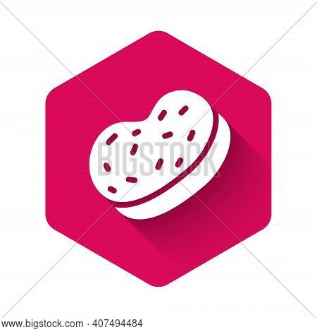 White Bath Sponge Icon Isolated With Long Shadow Background. Sauna Sponge. Pink Hexagon Button. Vect