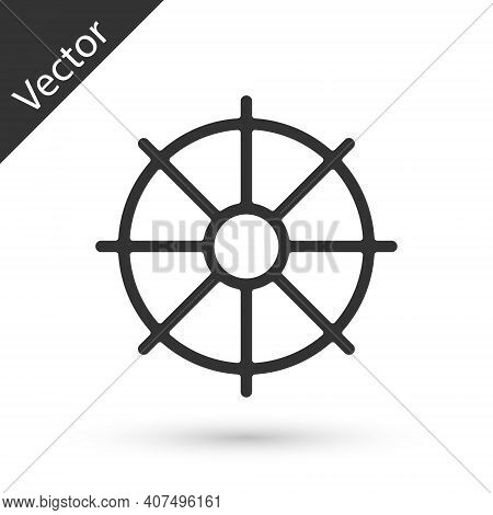 Grey Dharma Wheel Icon Isolated On White Background. Buddhism Religion Sign. Dharmachakra Symbol. Ve