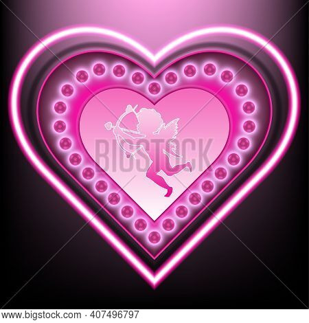 Heart-shaped Base Surrounded By Pink Light Bulbs\nin The Middle Is The Symbol Of Cupid (god Of Desir