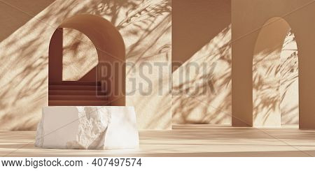Mockup Stone Product Podium With Broken Edges And Copy Space. Beige Wall With Arches And Leaf Shadow