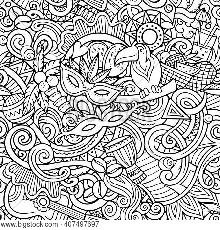 Cartoon Doodles Brazil Seamless Pattern. Backdrop With Brazilian Culture Symbols And Items. Sketchy