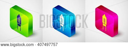 Isometric Light Emitting Diode Icon Isolated On Grey Background. Semiconductor Diode Electrical Comp
