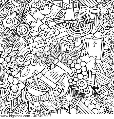 Cartoon Doodles Israel Seamless Pattern. Backdrop With Israeli Culture Symbols And Items. Sketchy De