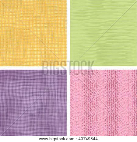 Vector set of four textile fabric textures seamless patterns backgrounds with hand drawn elements poster