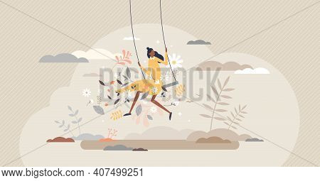 Freedom Female As Happy And Care Free Positive Lifestyle Tiny Person Concept