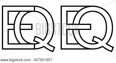 Logo Sign Eq Qe Icon Sign Interlaced Letters Q, E Vector Logo Eq, Qe First Capital Letters Pattern A
