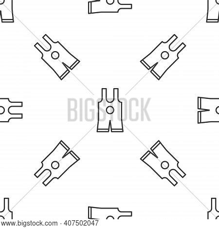 Grey Line Wrestling Singlet Icon Isolated Seamless Pattern On White Background. Wrestling Tricot. Ve