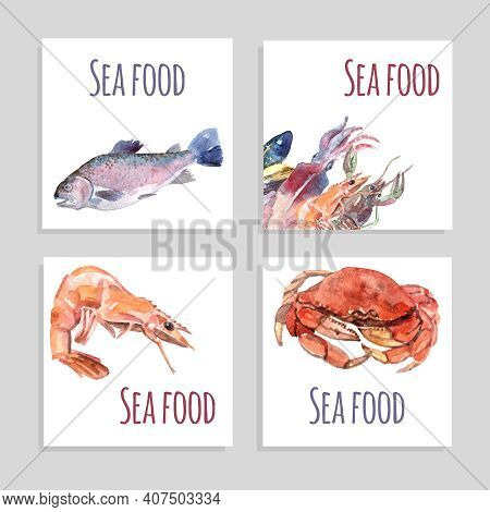 Seafood Watercolor Square Banners Set With Crabs Fish And Shrimp Isolated Vector Illustration