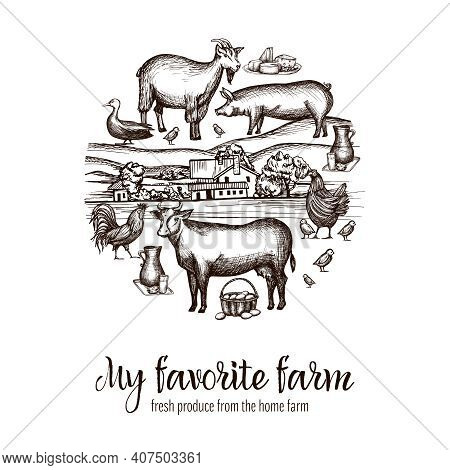 Farmers Market Poster With Hand Drawn Livestock Animals Food And Village On Background Vector Illust
