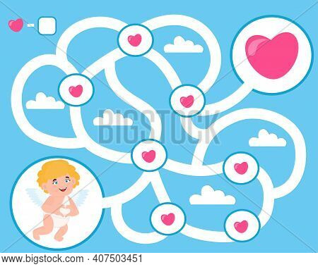 Game For Children. Valentines Day. Help Cupid Find Hearts. Kids Activity Sheet. Maze Puzzle. How Man