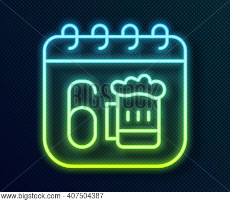 Glowing Neon Line Saint Patricks Day With Calendar Icon Isolated On Black Background. Four Leaf Clov