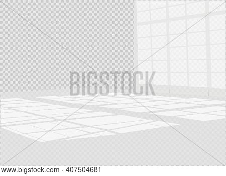 Overlay Shadow Effect. Transparent Overlay Window And Blinds Shadow. Realistic Light Effect Of Shado