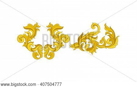Baroque Golden Elements With Scroll And Swirl Vector Set