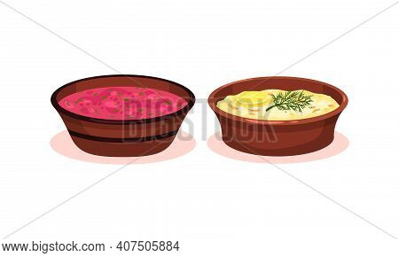 Soups Served In Ceramic Bowl And Garnished With Potherb Vector Set