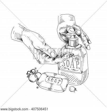 Dosing Liquid Soap For Hands Washing, Retro Hand Drawn Vector Illustration.