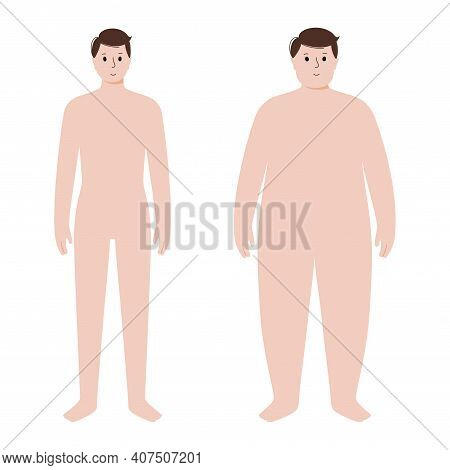 Man Silhouettes With Obese And Slim Fit. Male Persons With Normal Weight And Overweight. Bmi Ranges.