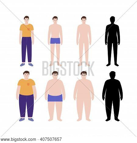 Body Mass Index Concept. Man Silhouettes With Obese, Normal And Slim Fit. Bmi Ranges From Overweight