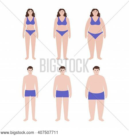 Body Mass Index Concept. Woman And Man Silhouettes With Obese Normal And Slim Fit. Bmi Ranges From O