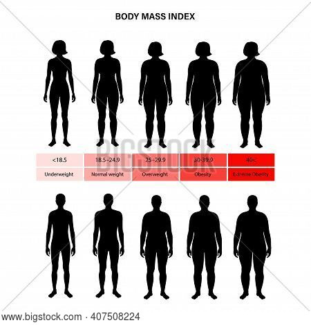 Body Mass Index Poster. Woman And Man Silhouettes With Obese Normal And Slim Fit. Bmi Ranges From Ov