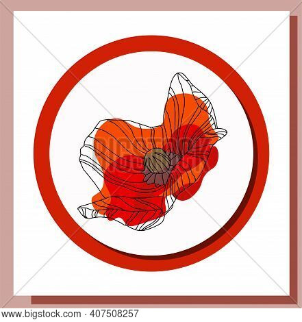 May 9. Banner For Victory Day. Symbolic Red Poppy On A White Background. Vector Illustration. Victor