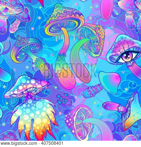 Magic Mushrooms. Psychedelic Hallucination. Vibrant Vector Illustration. 60s Hippie Colorful Backgro
