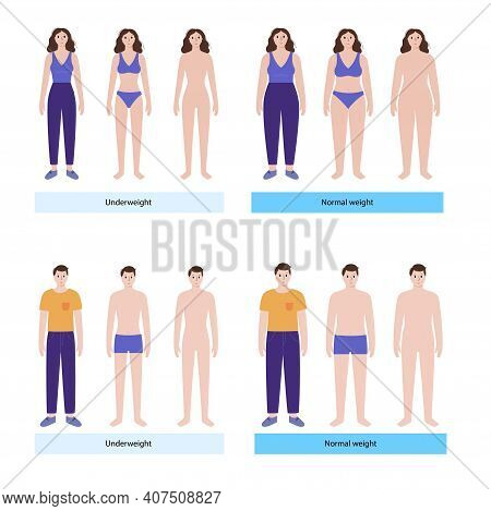 Woman And Man Silhouettes With Anorexia And Slim Fit. Persons With Normal Weight And Underweight. Bm