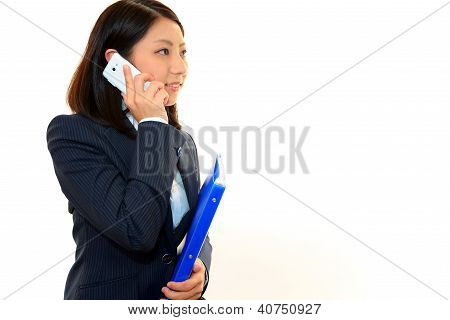 Smartphone with woman.