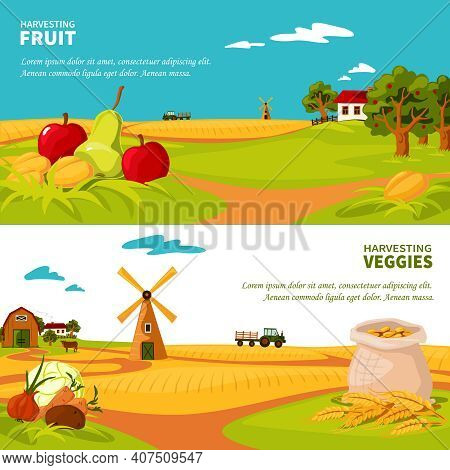 Flat Design Horizontal Banners Set With Beautiful Farm Landscapes Veggies And Fruit Harvest Isolated