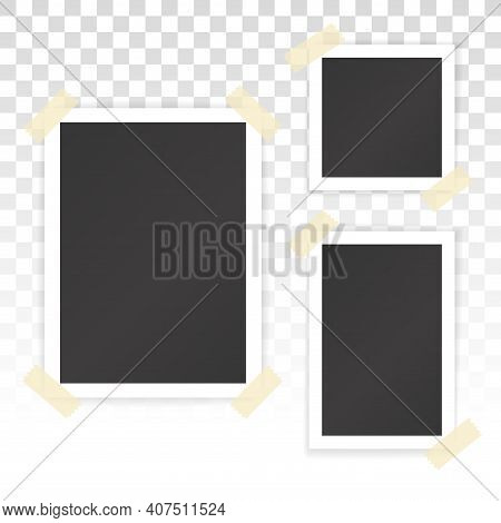 Collage Of Blank Photographs With Stickers Isolated On Transparent Background. Vector Mockup Of Albu