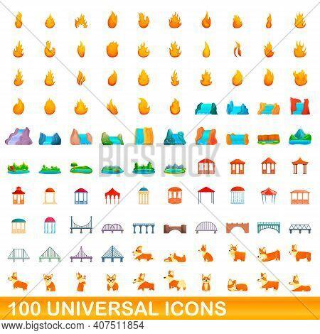 100 Universal Icons Set. Cartoon Illustration Of 100 Universal Icons Vector Set Isolated On White Ba