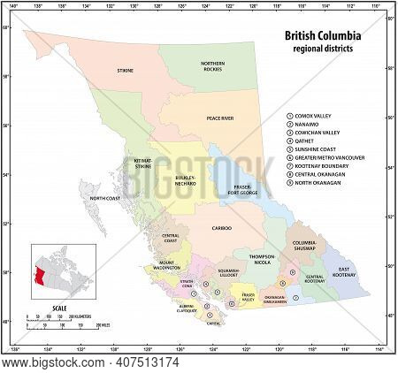 Administrative Vector Map Of The Canadian Province Of British Columbia