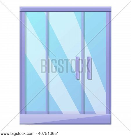 Door Shower Stall Icon. Cartoon Of Door Shower Stall Vector Icon For Web Design Isolated On White Ba