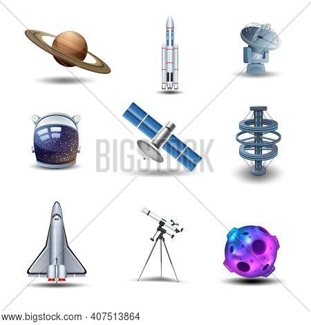Space Decorative Icons Set With Asteroid Spaceman Helmet Rocket Isolated Vector Illustration