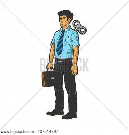 Clockwork Office Worker Businessman Toy Color Sketch Engraving Vector Illustration. T-shirt Apparel